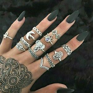 Jewelry - 13pcs Boho Knuckle Midi Rings Gold